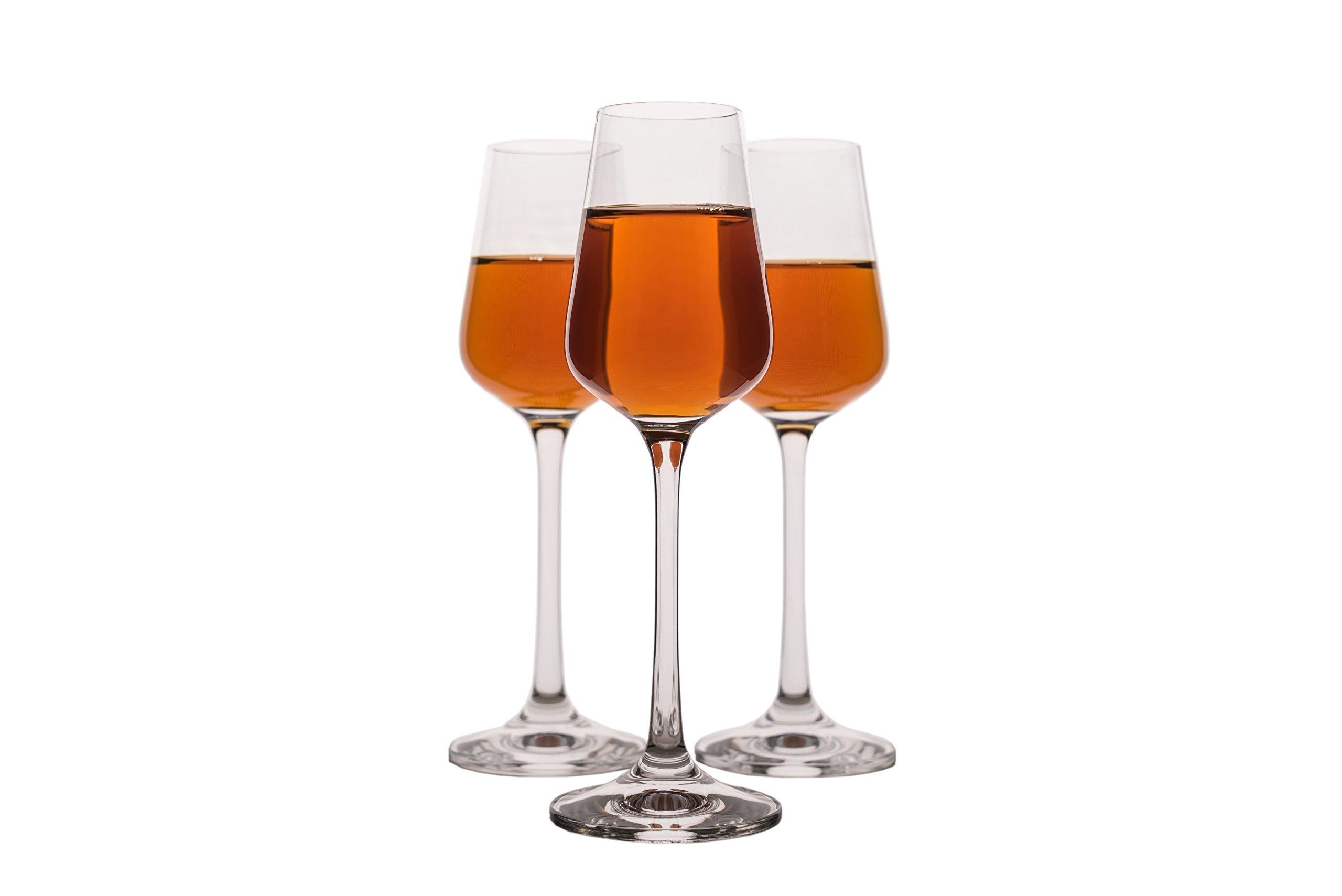 Small Liquor Glasses Set (6 pack), Hard & Durable Crystal Clear Stemware - 2.1 Oz/65ml