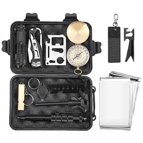 Finether-Kit de Supervivencia Militar Profesional Herramientas Multifuncionales Kit de Multiherramientas de Emergencia Equipo de Supervivencia 11 en 1 ...