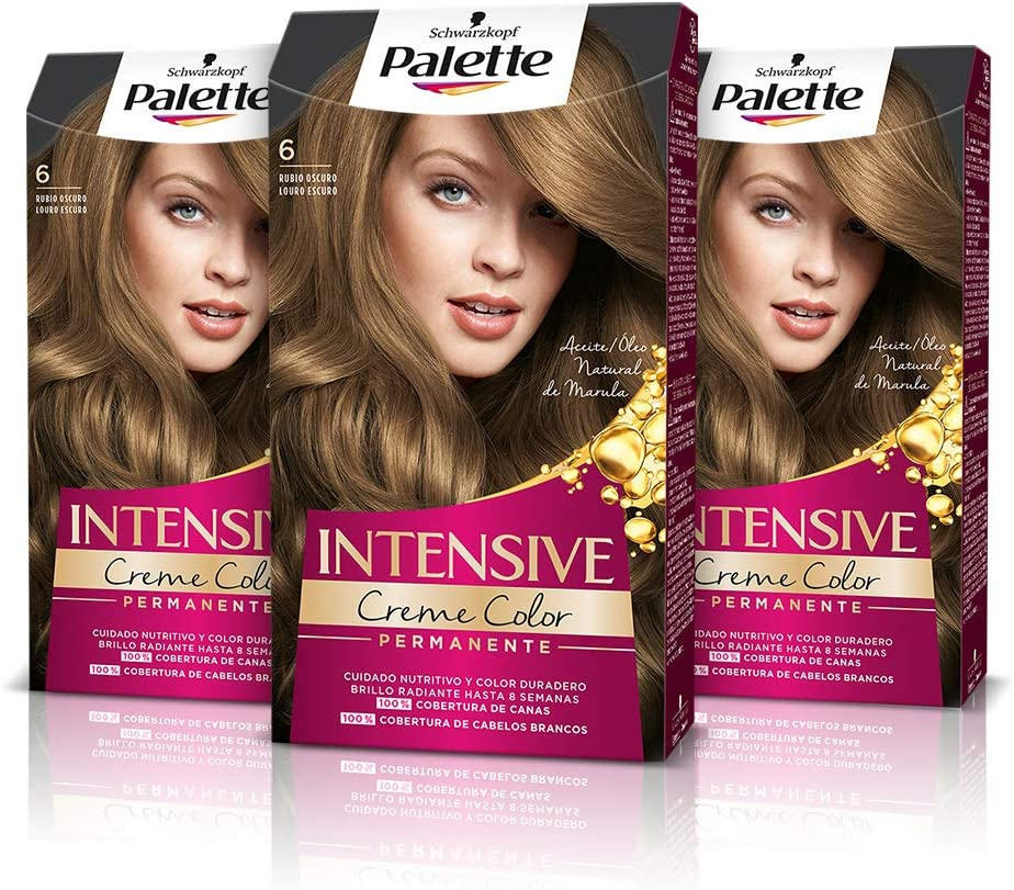 Schwarzkopf Palette Intensive Creme Color - Tono 6 cabello Rubio Oscuro (Pack de 3), Coloración Permanente de Cuidado con Aceite de Marula, adecuada ...
