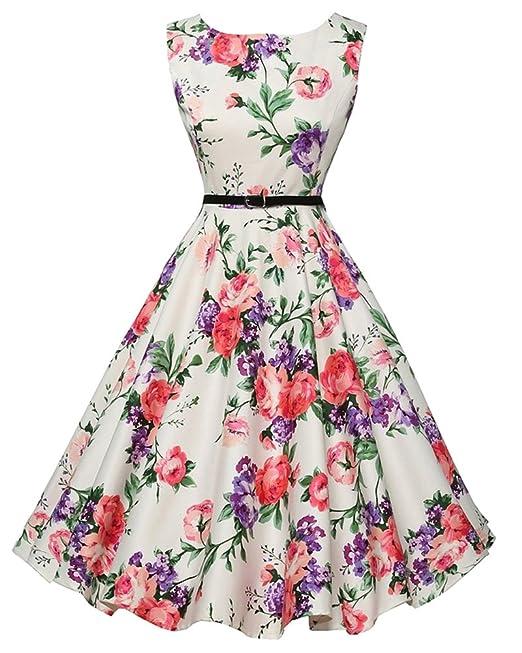 Vintage Vestito Donna Eleganti Anni 50 Cocktail Partito Swing Abito A-Line   Amazon.it  Abbigliamento e13dd0fc3ca