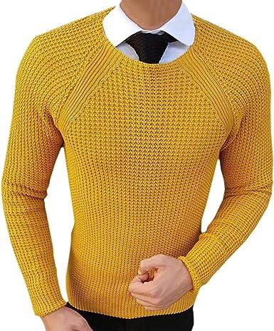 Hombre Suéter de Punto Cuello Redondo Slim Fit Pullover Otoño Invierno Jersey Camisa Color Sólido Casual Suéter: Amazon.es: Ropa y accesorios