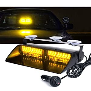 Xprite Amber Yellow 16 LED High Intensity LED Law Enforcement Emergency Hazard Warning Strobe Lights For Interior Roof/Dash / Windshield With Suction Cups