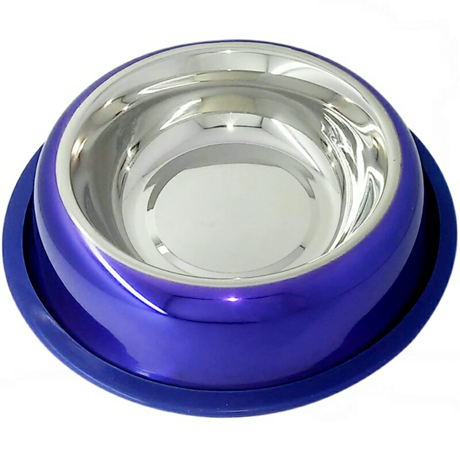 Mr. Peanut's Premium High Gloss Lacquer Coated Stainless Steel Dog Bowl, Rust Proof with Non-Skid Long Lasting Silicone Base (No Rubber Smell!) That Won't Slip, 24oz (Dry Weight) Pet Feeding Bowl