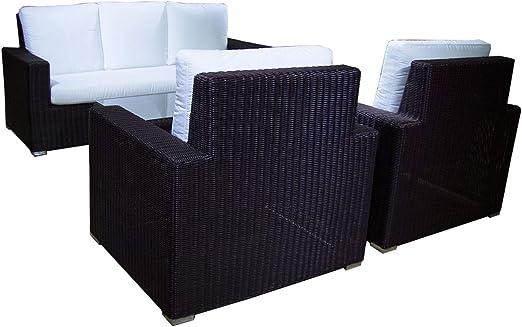 Conjunto sofá para jardín Leria 8 - Hevea, 5 plazas, Sofá 3 plazas ...