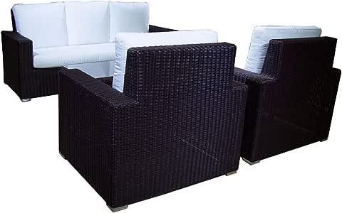 Conjunto sofá para jardín Leria 8 - Hevea, 5 plazas, Sofá 3 plazas + 2 butacas + mesita Auxiliar, Acero y rattán sintético Color marrón: Amazon.es: Jardín