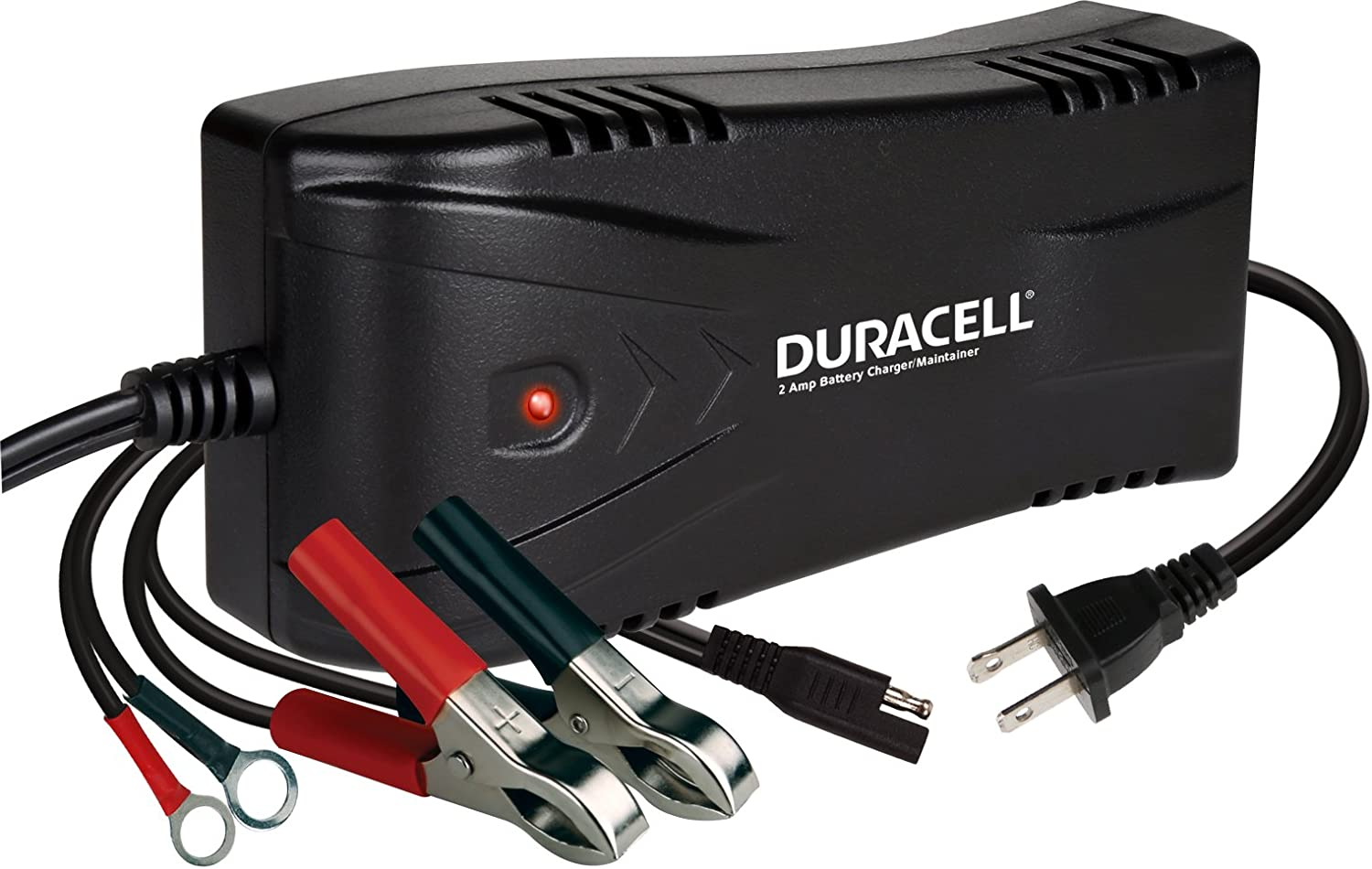 DURACELL DRBM2A 2 Amp Battery Charger Maintainer 3-Stage Float Charge Ideal for 12 Volt 12V Lead Acid SLA batteries for Cars, Motorcycles, Marine Sports Watercrafts and more
