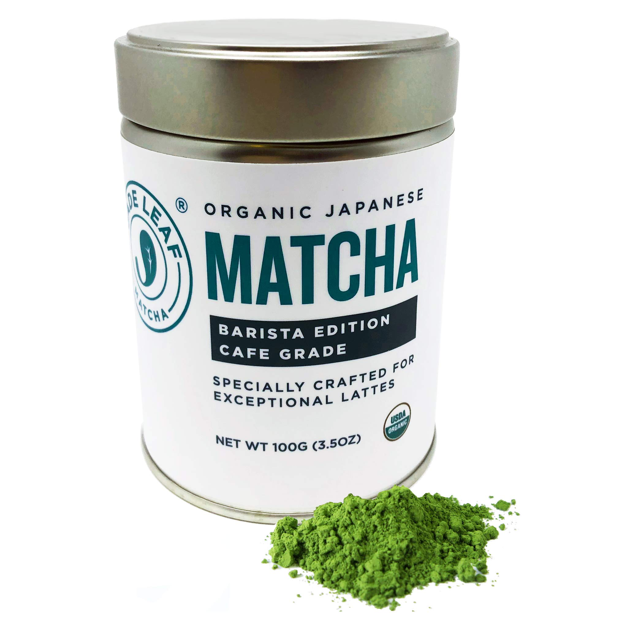 Jade Leaf Matcha Green Tea Powder - USDA Organic - Barista Edition Cafe Grade (Specially Crafted for Exceptional Lattes) - Authentic Japanese Origin [100g Tin] by Jade Leaf Matcha