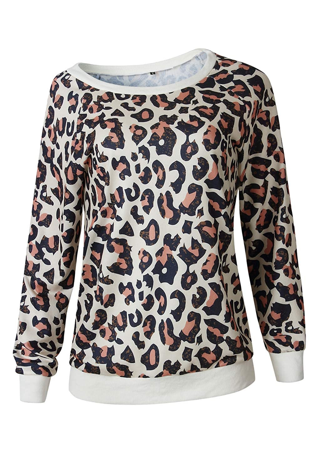 Women Pullover Sweatshirt Leopard Print Long Sleeve Sweater Tops at Amazon Womens Clothing store: