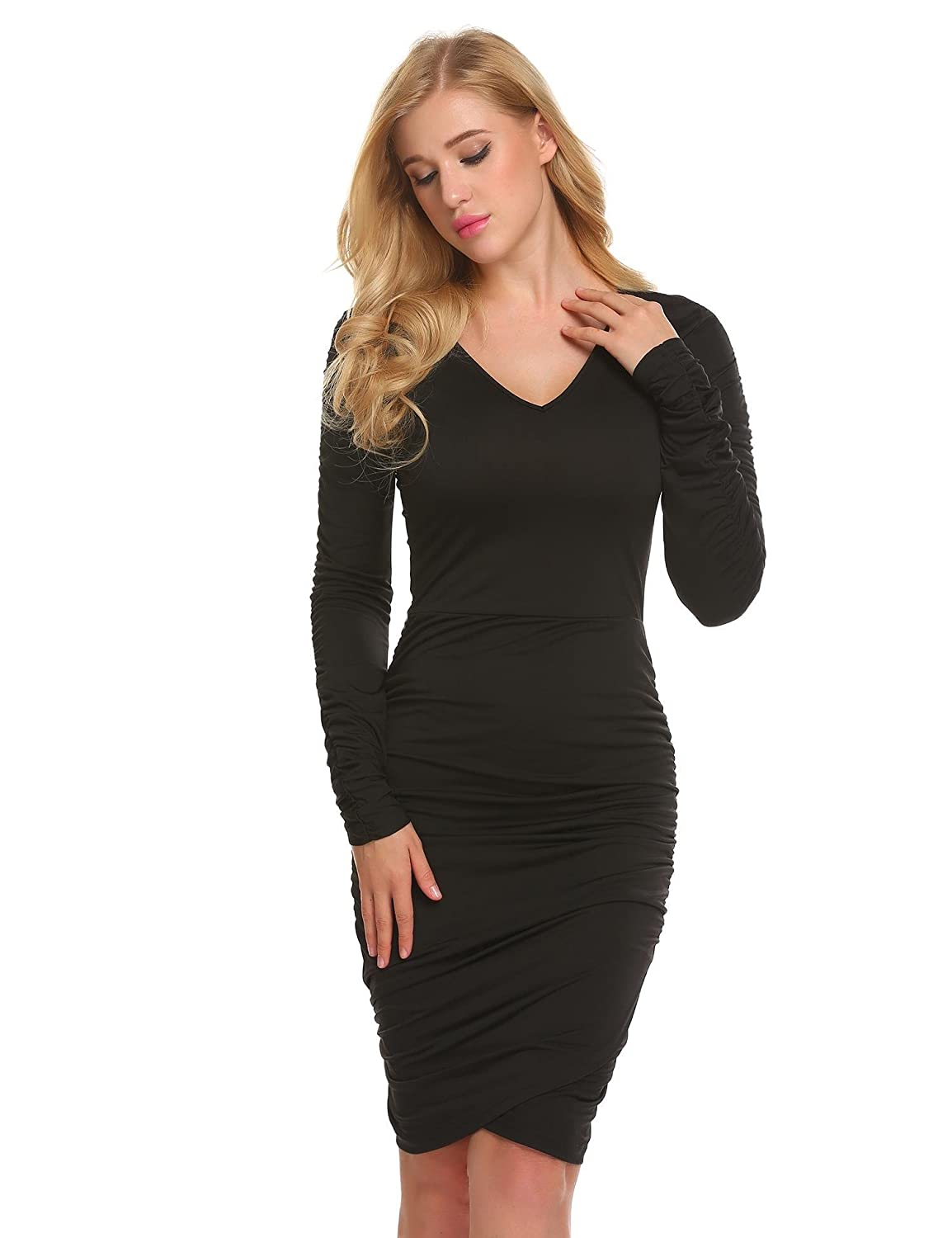 70db07463f151 Bifast Womens Fall Winter Long Sleeve V Neck Ruched Cotton Elegant Bodycon  Wrap Party Cocktail Dress S-XL at Amazon Women's Clothing store: