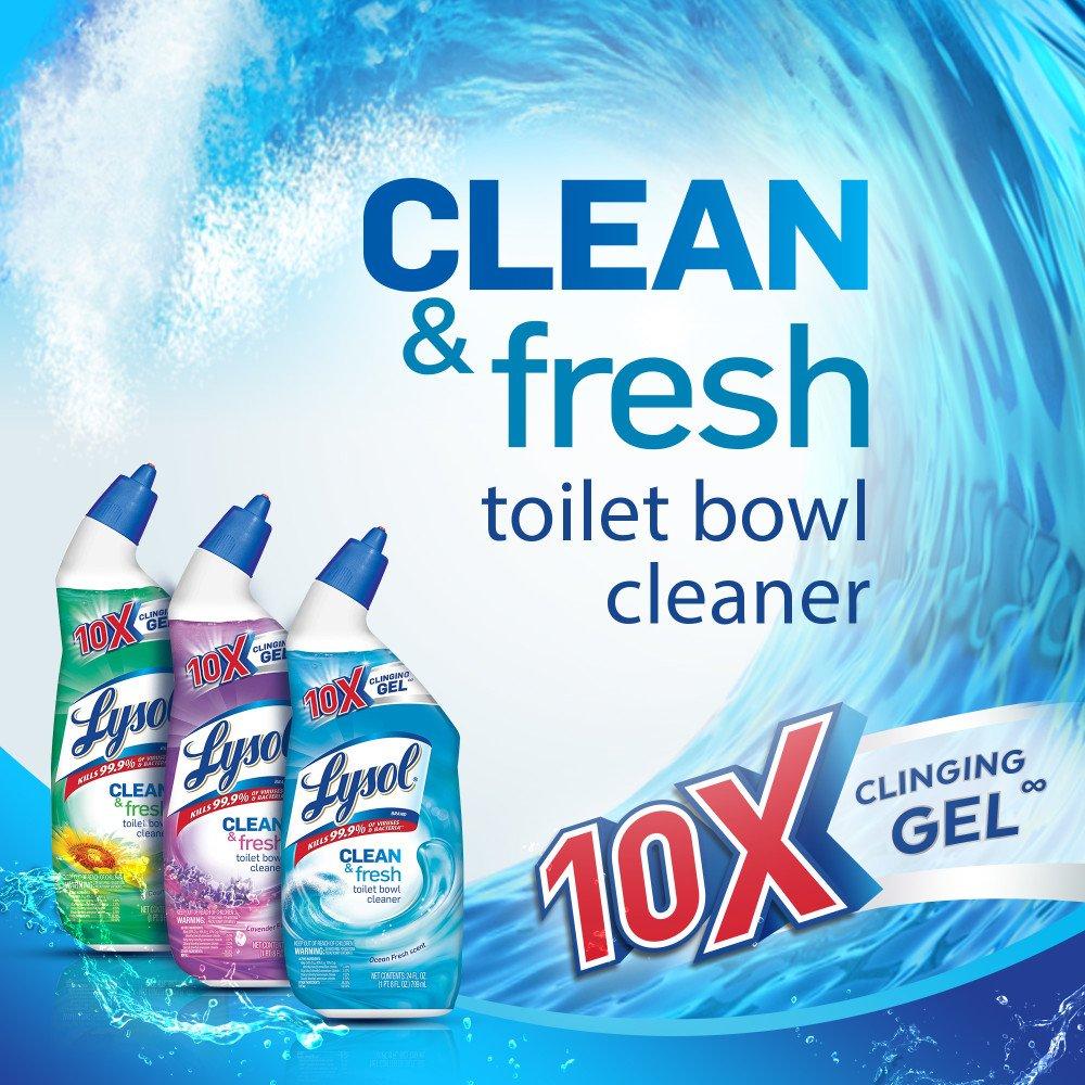 Lysol Power & Fresh Toilet Bowl Cleaner, Ocean Fresh, 96oz (4X24oz) by Lysol (Image #2)