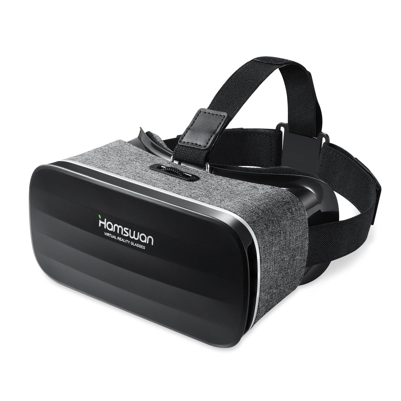 3D VR Gafas de Realidad Virtual, [Oferta de Pascua] HAMSWAN VR Glasses Peso Ligero 238g Visión Panorámico 360 Grado Película 3D Juego Immersivo para Móviles IOS Android de 4.0 Hasta 6.0 Pulgada