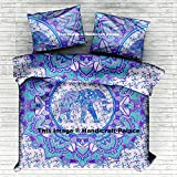 "Indian Elephant Mandala Queen Duvet Cover Cotton Reversible Doona Cover Quilt Blanket Hippie Set Pillow case By ""Handicraftspalace"""
