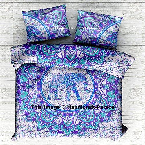 HANDICRAFT-PALACE Indian Elephant Mandala Queen Duvet Cover Cotton Reversible Doona Cover Quilt Blanket Hippie Set Pillow -