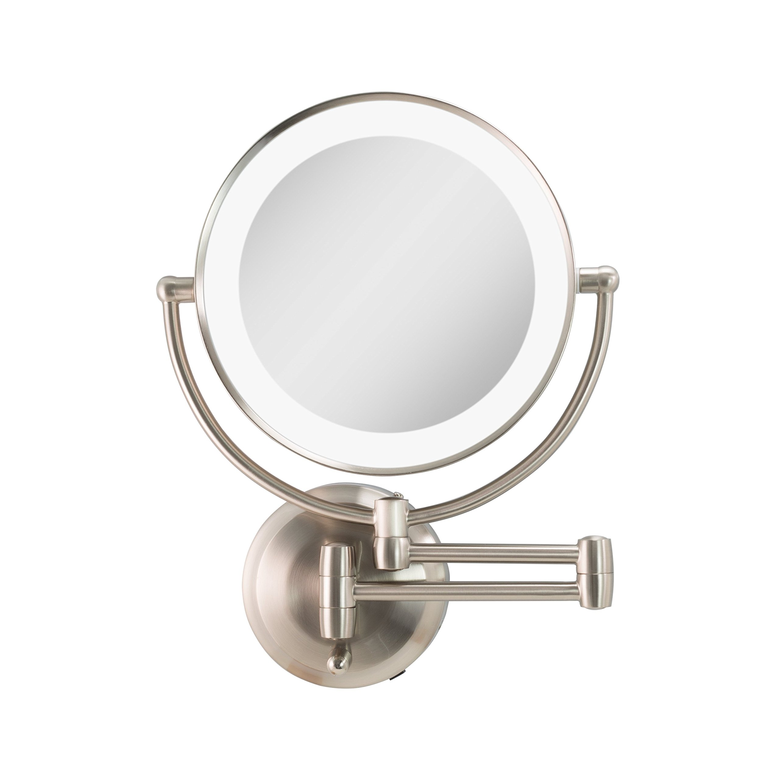 Zadro Cordless Dual LED Lighted Round Wall Mount Mirror with 1X & 5X magnification in Satin Nickel Finish.