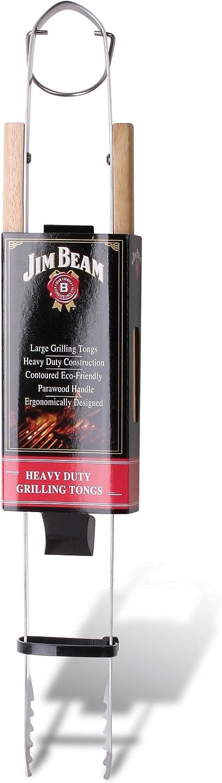 Jim Beam JB0138 Wooden Handle Heavy Duty Grilling Tongs