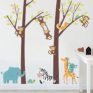 Woodland Wall Decals Cartoon Animals Wall Stickers for Kids Room, Tree Animals Giraffe Elephant Zebra Monkey Wall Decor Posters Vinyl Removable Art Murals for Boys Room Nursery Classroom