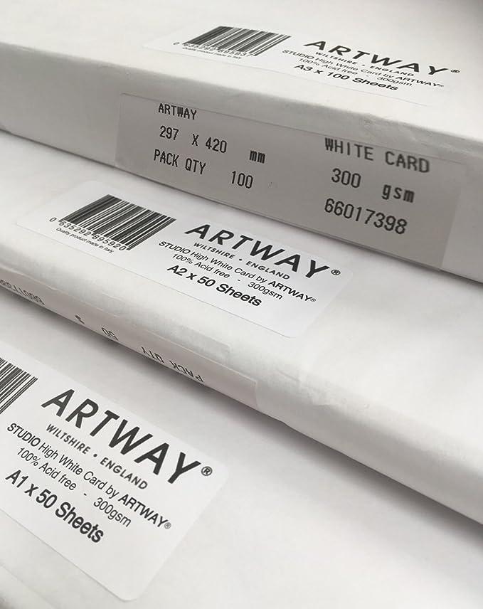 Carta bianca spessa Ideale da incorniciare per esposizioni 300g//m/² 50 Fogli Artway Studio A2