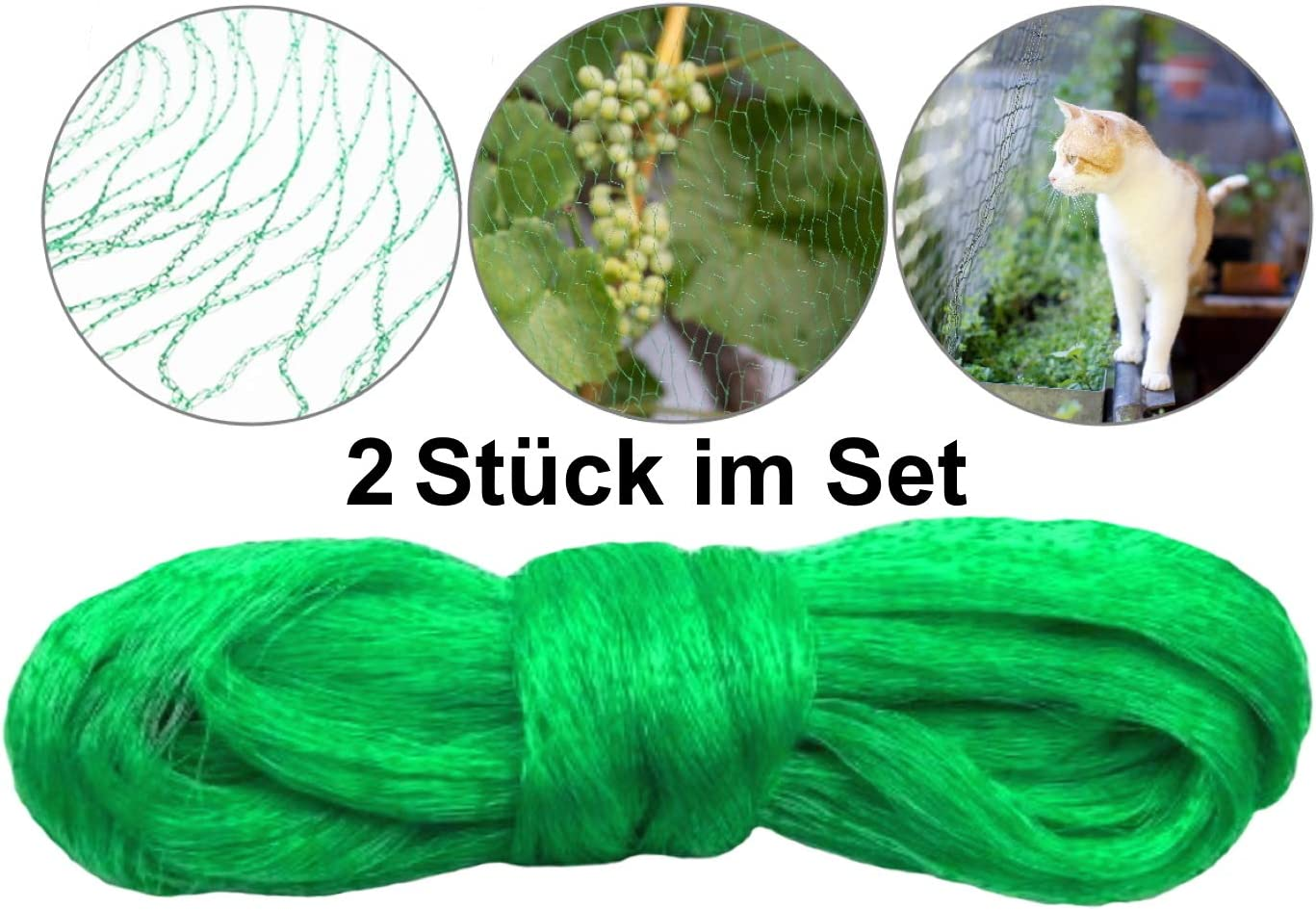 O/&W Security Set 4X Bird Protection Net Pond Net Cat Net for Protection Against Bird Repellent Fruit Tree Net Balcony Net Tight Mesh Robust Fabric UV and Weather Resistant 4 x 5 Metres Dark Green