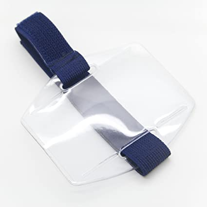 Pack of 25 Armband ID Badge Holder Vertical with Elastic NAVY BLUE Strap