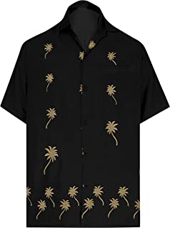 875d7797 LA LEELA Shirt Casual Button Down Short Sleeve Beach Shirt Men Embroidered  179