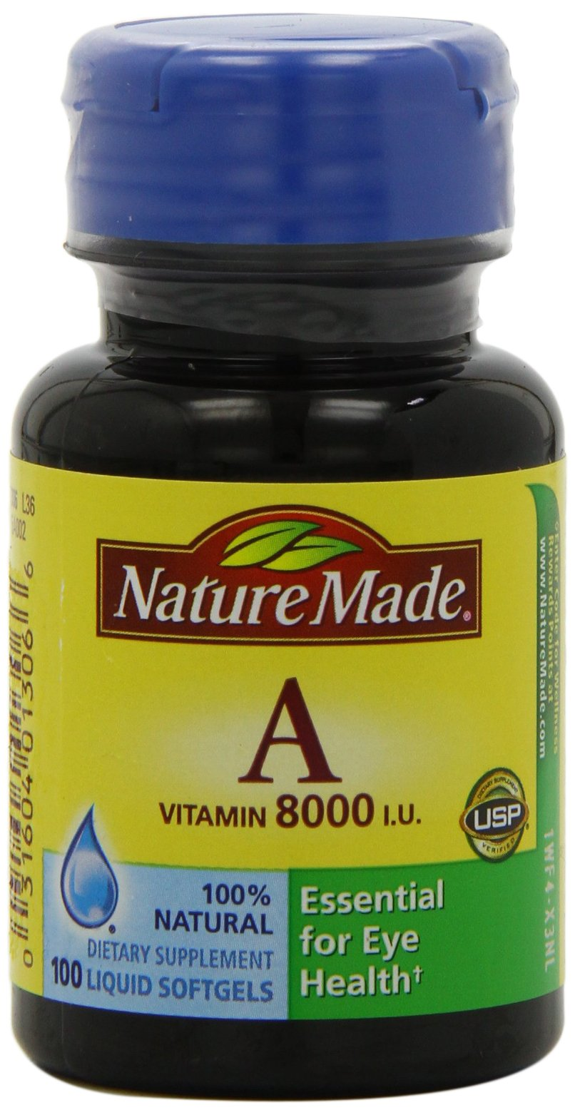 Nature Made Vitamin A 8000IU, 100 Softgels (Pack of 6)