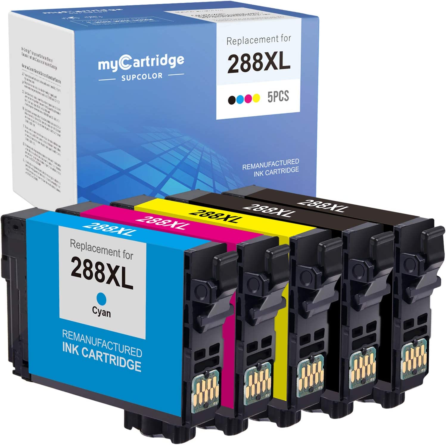 myCartridge SUPCOLOR Remanufactured Ink Cartridge Replacement for Epson 288 XL 288XL T288XL High Yield for Expression Home XP-330 XP-340 XP-430 XP-440 XP-446 XP-434 (Black Cyan Magenta Yellow, 5-Pack)