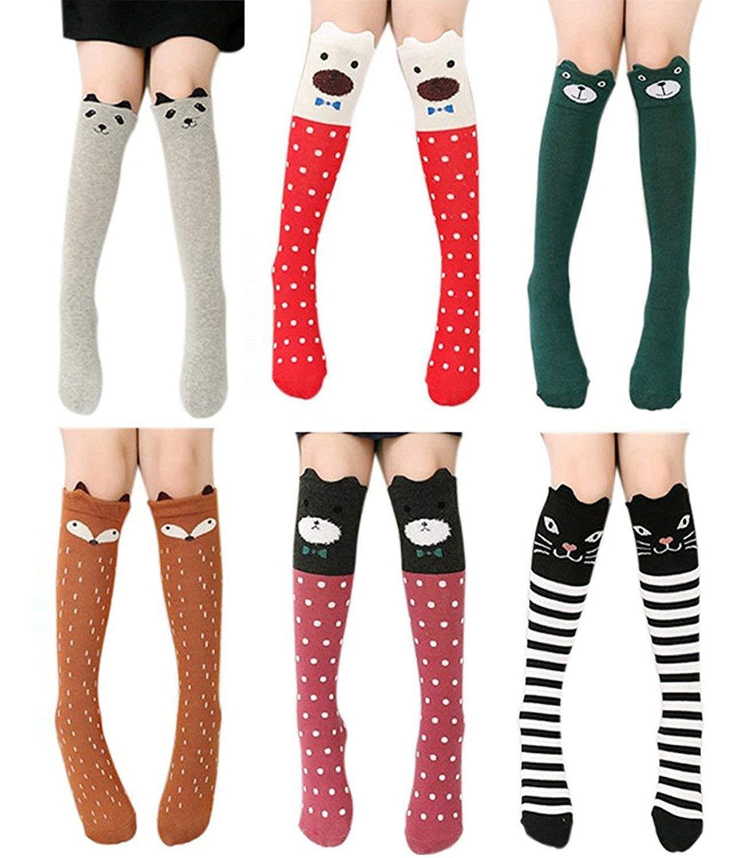 Girls Knee High Socks, Gellwhu 6/8 Pairs Animal Cotton Knit Over Calf Socks for Kids Teens GELL0163K