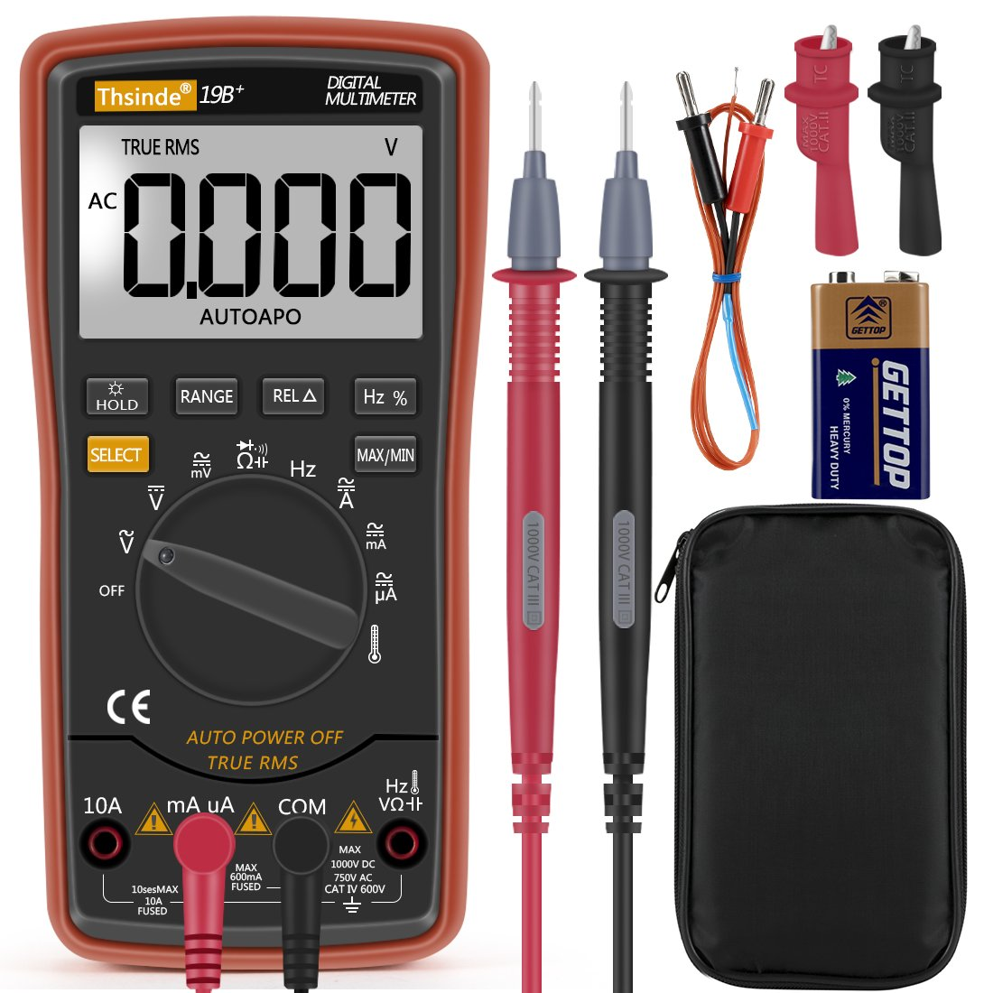 Thsinde Auto Ranging Digital Multimeter, Measures,Voltage, Current, Resistance, Continuity, Capacitance, Frequency, tests Diodes Transistors, Temperature, Lcd back light