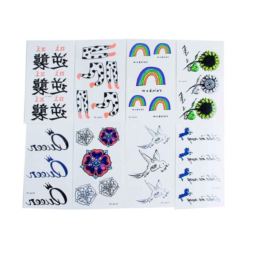 COOLBLOOM 8 Sheets Art Temporary Tattoo Transfer Sticker Fashion ...