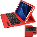 TECHGEAR® Samsung Galaxy Tab A 10.1 Inch (SM-T580 Series) PU Leather Case with Built in Detachable Bluetooth Wireless UK QWERTY Keyboard and Stand (RED)