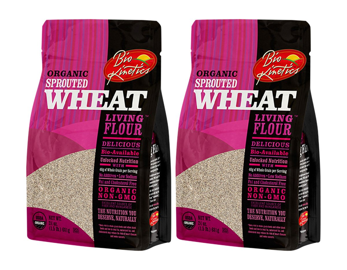 Organic, Sprouted Wheat Flour, Non-GMO, Bio-Available with a Great Taste (24 oz) - Pack of 2 by Bio-Kinetics