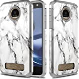 Moto Z Play Case, Moto Z Play Droid Case, TownShop Marble Pattern Design Hard Impact Dual Layer Shockproof Bumper Case For Motorola Moto Z Play/ Motorola Moto Z Play Droid