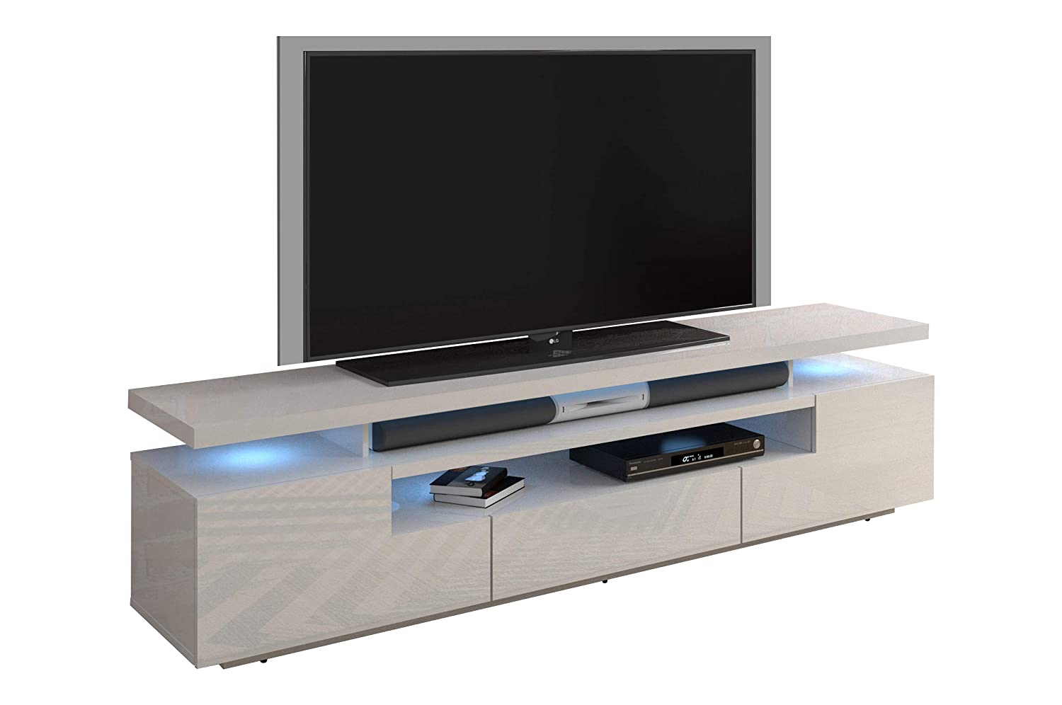 """Meble Furniture & Rugs Eva 79"""" Modern High Gloss TV Stand with 16 Color LEDs (White)"""