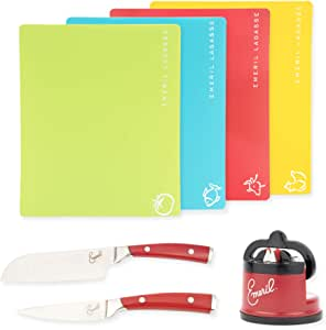 Emeril 4-Piece Assorted Color Non-Stick Cutting Board Mats, 2-Piece Knife Set (Red), and Knife Sharpener with Suction Pad (Red)