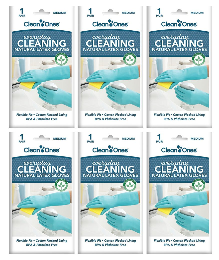 Clean Ones Everyday Cleaning,Kitchen Rubber Cleaning Gloves Dishwashing Clean Latex Glove - 6 Pair (Medium)