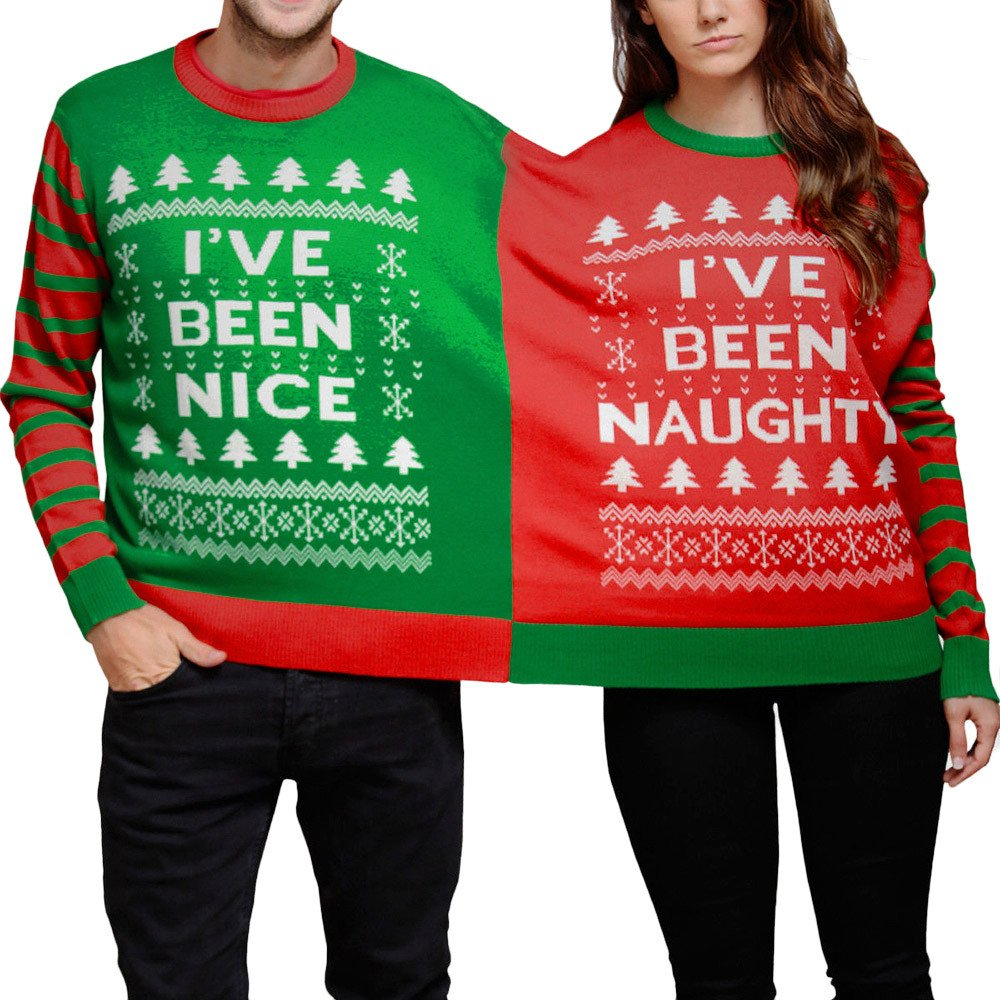 FNKDOR Naughty Nice Double Novelty Christmas Jumper Sweatshirt Twin 2 Top Xmas Knitting Pullover
