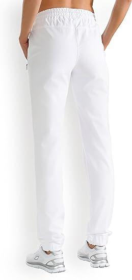 Hose Damen Weiss Gummibund am Saum | CLINIC DRESS