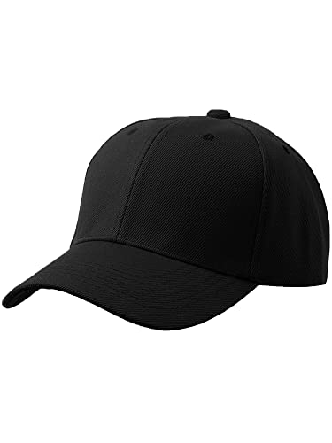 Men's Plain Baseball Cap Adjustable Curved Visor Hat, BLK