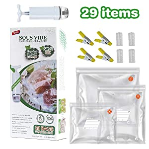 TAILI Sous Vide Bags Kit for Anova and Joule Cookers, 20x (3 Sizes) Reusable Vacuum Food Storage Bags, BPA Free Food Vacuum Sealer Bags with 1 Hand Pump, 4 Sealing Clips and 4 Sous Vide Bag Clips