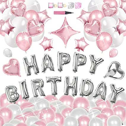IBITION Happy Birthday Balloons Decorations Set 130pcs Pearlescent Latex And Mylar Foil With