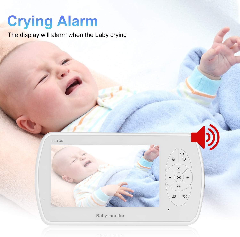 Blanco Sensor Temperatura PREUP Vigilabeb/és con C/ámara 1080P Monitor de Video Inal/ámbrico con Pantalla de 4.3 Pulgadas Despertador Autom/ático y Canciones de Cuna para Monitoreo de Beb/és//Mascotas
