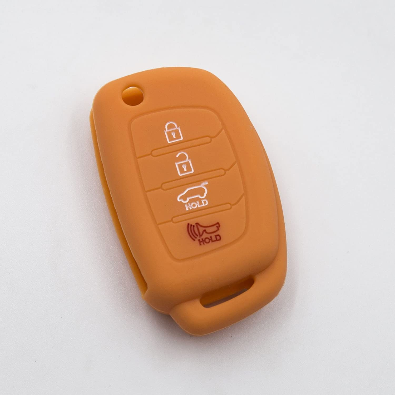 Mint Green LIGHTKOREA 4 Button Flip Fob Folding Remote Key Chain Silicone Case Cover For Hyundai Santa Fe Sonata Elantra Azera Tucson