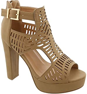 412bb3b8fe MVE Shoes Women's Block Heel Platform Cut Out Slip On Sexy Heeled Sandal