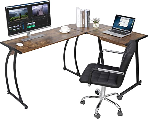 SUPER DEAL L-Shaped Corner Desk Computer Gaming Desk