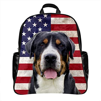Designer Backpack with Greater Swiss Mountain Dog Image Print , PU Leather