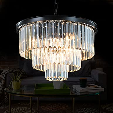 Meelighting 8 Lights Modern Contemporary Crystal Chandeliers Lights Pendant Ceiling Chandelier Lighting Fixture 3-Tier for Dining Room Living Room
