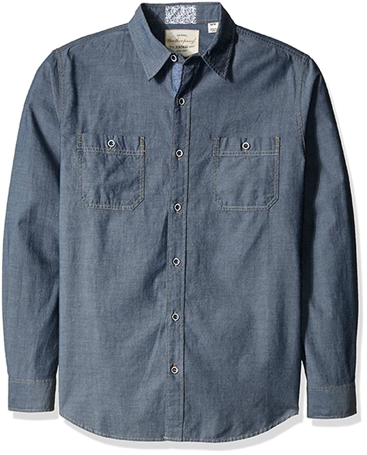 1910s Men's Working Class Clothing Weatherproof Vintage Mens Chambray Double Pocket Shirt $34.75 AT vintagedancer.com