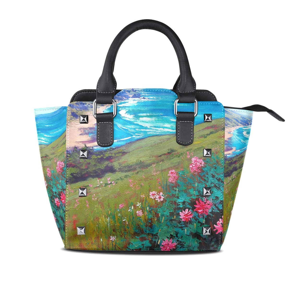 Design2 Handbag Mountain Water Genuine Leather Tote Rivet Bag Shoulder Strap Top Handle Women