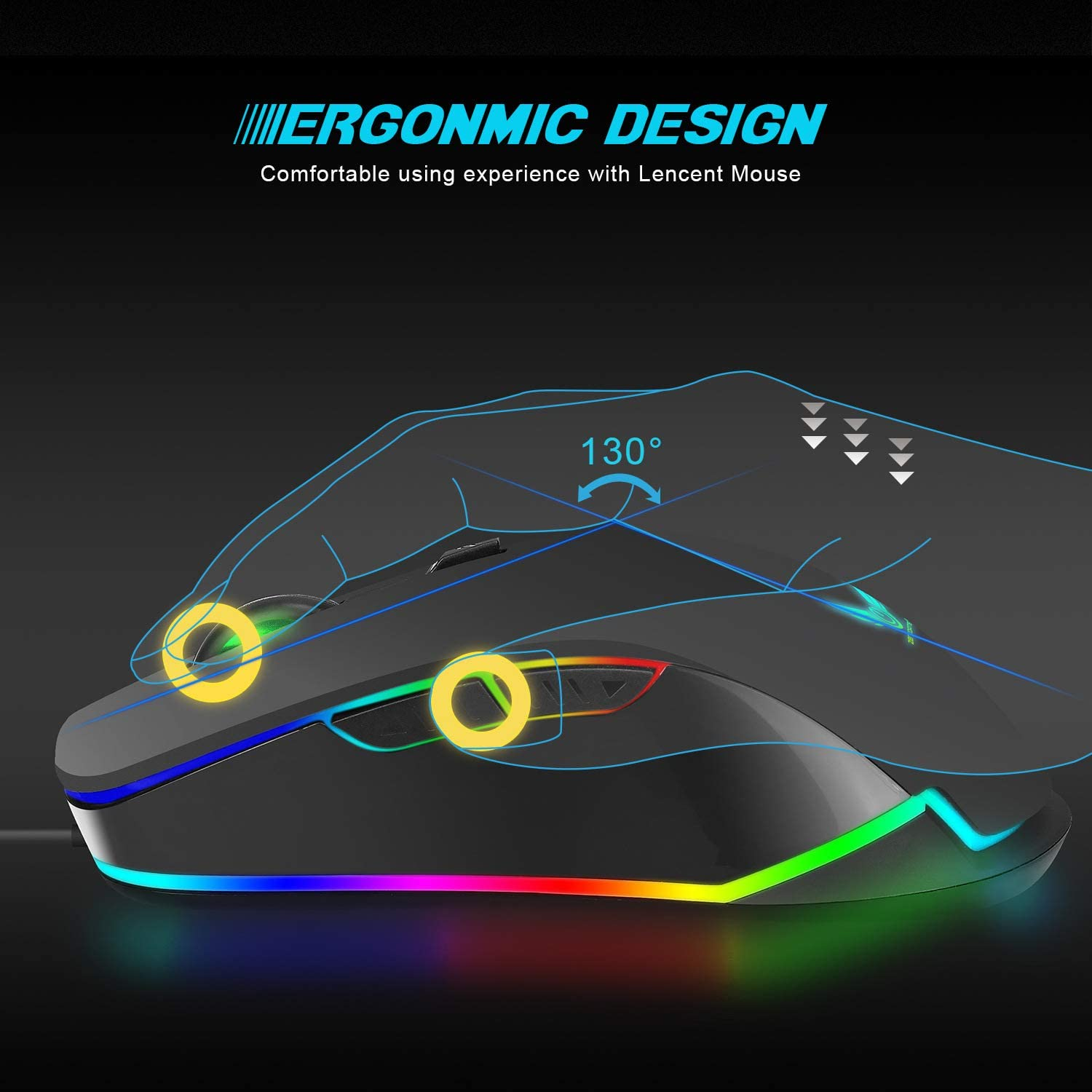 BAIYI Computer Wired Mice Wired Macros Define 6 Programmable Keys 4800 DPI Adjustable Gaming Mouse