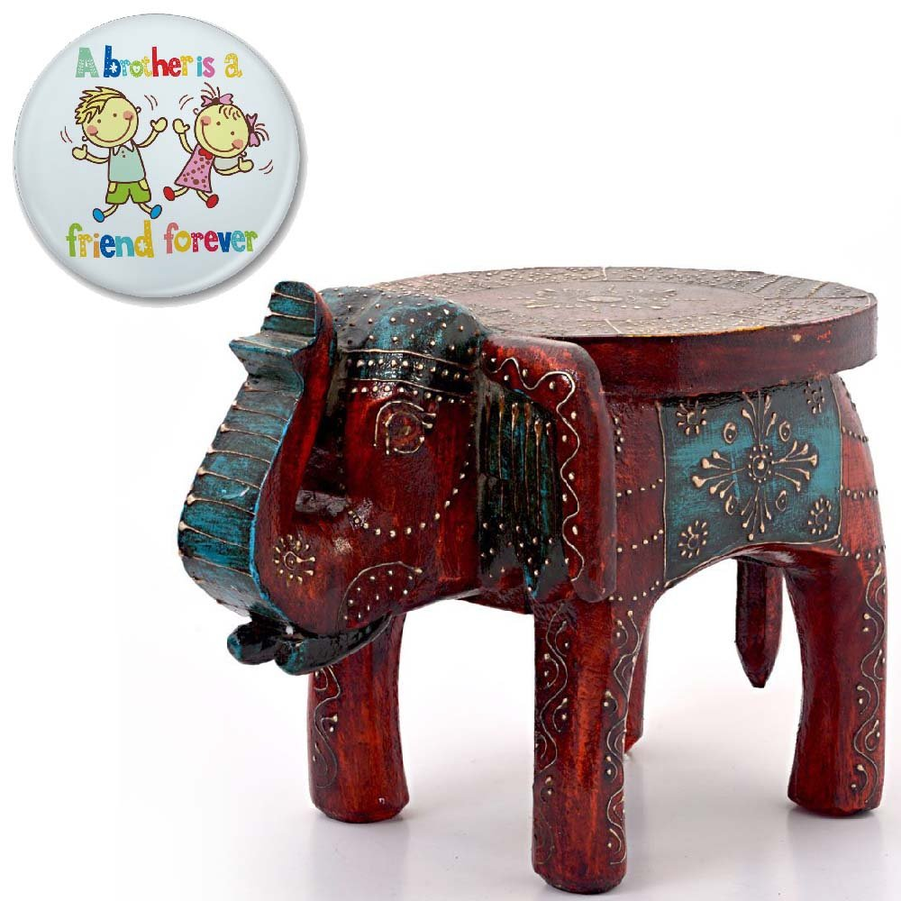 Little India Designer Wooden Elephant Stool Handicraft Gift 304